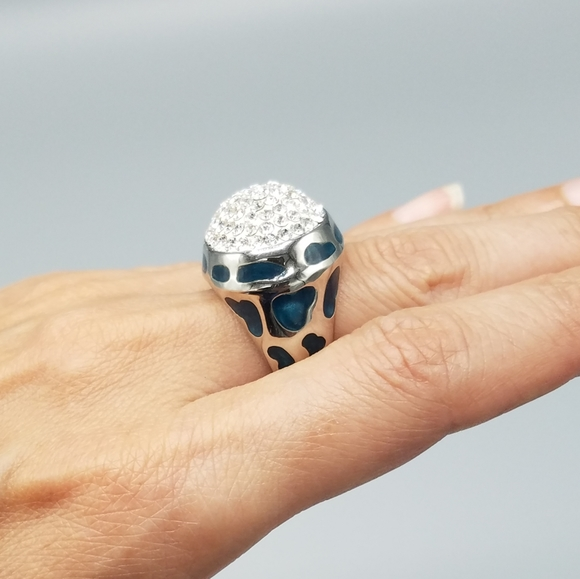 Rhinestone Silver Toned & Blue Cocktail Ring SZ 7